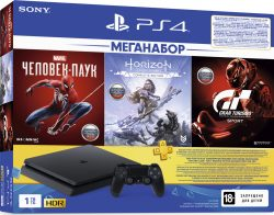 PlayStation 4 Slim 1Tb + Человек-паук, Horizon Zero Dawn, Gran Turismo, подписка PS+